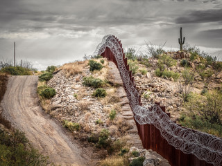 Mexico border wall in southern Arizona with iconic saguaro cactus in background  Fotomurales