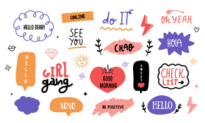 Modern doodle Social power lettering sticker pack with speech bubbles, typographic message set, vector chat badge