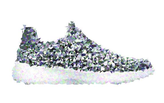 Sneaker on white. Vector polygon illustration