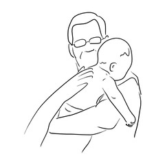 Burping for baby after feeding vector illustration sketch doodle hand drawn with black lines isolated on white background