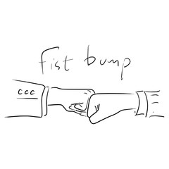 fist bump of businessman vector illustration sketch doodle hand drawn with black lines isolated on white background