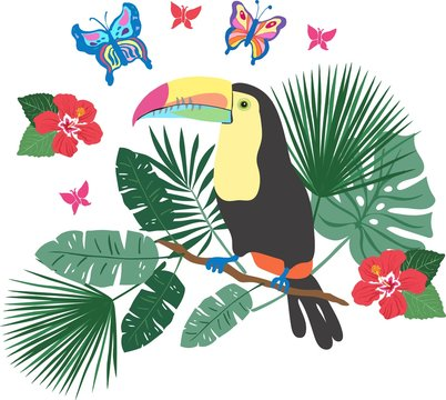 Colorful colourful tropical placement print vector illustration with a toucan parrot bird on a branch with leaves surrounded by flowers and butterflies