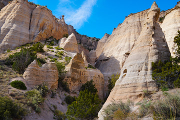 An amazing canyon of unusual sandstone shapes in the Tent Rocks National Monument.