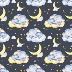 Watercolor seamless pattern with cute baby elephant sleeping on a cloud