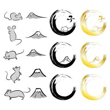富士山とネズミと筆文字の手描きイラスト素材 ベクター 子年 2020 年賀状 正月