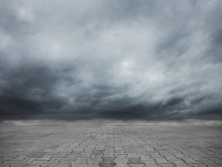 Empty cobblestone floor and dramatic sky nature landscape