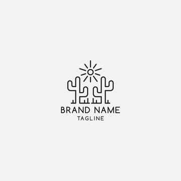 minimalist cactus logo design inspiration
