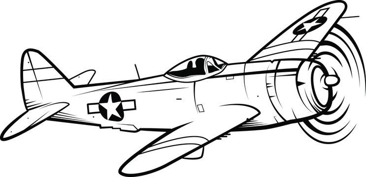 World War II Fighter Aircraft Vector Illustration