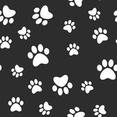 Paws seamless pattern. Dog paw texture. Mascot love background.