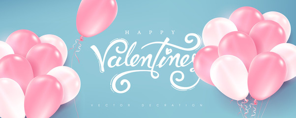 Fototapete - Valentines day background with pink and white Balloons. Vector illustration.banners.Wallpaper.flyers, invitation, posters, brochure, voucher discount.