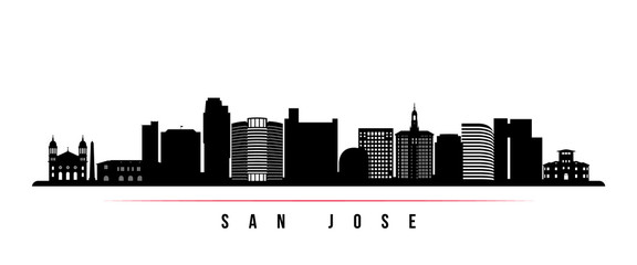 San Jose skyline horizontal banner. Black and white silhouette of San Jose, California. Vector template for your design.