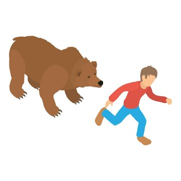 Bear attack icon. Isometric illustration of bear attack vector icon for web