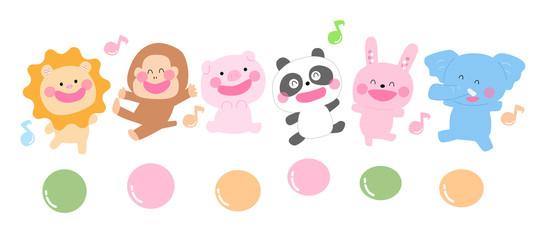 玉乗りする動物、保育イラスト、アニマル、子ども向け、ライオン、サル、ブタ、パンダ、ウサギ、ぞう、