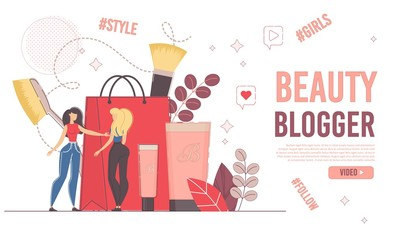 Female User and Beauty Woman Blogger Consultation. Online Female Consultant Showing Latest Fashion Trends in Makeup to Customer. Shopping Guide. Cosmetics Advertisement. Landing Page Design
