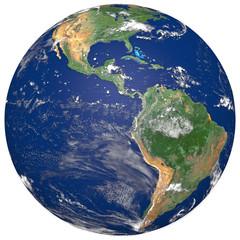 3D Realistic World Globe America Illustration White Background