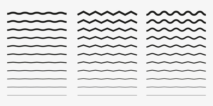 Wave, wavy - curved and zig zag icon set. Vector illustration, flat design.