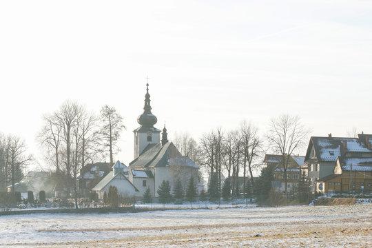 ODROWAZ, POLAND - DECEMBER 06, 2019: Church of Mary Magdalene