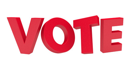 Red 3d vote text with exclamation mark on white