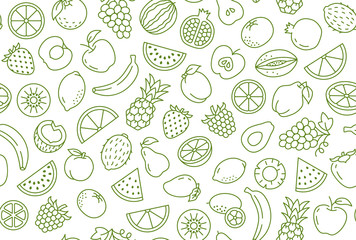 Fruit and berry background, abstract food seamless pattern. Fresh fruits wallpaper with apple, banana, strawberry, watermelon, line icons. Vegetarian grocery vector illustration, green white color