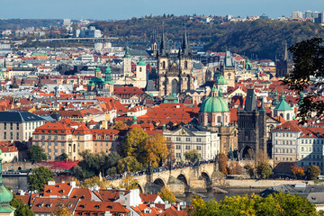 Wall Mural - aerial view of historic center of Prague,  Czech Republic
