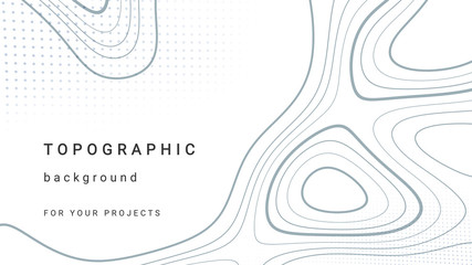 Topographic background and texture, monochrome image. 3D waves. Cartography Background. Map mockup infographics. Wavy backdrop. Cardboard.