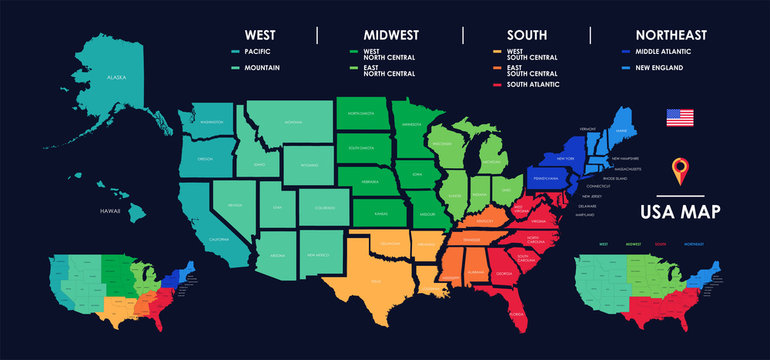 Detailed map of US regions, isolated states with names, Colorful infographics of the United States of America, vector illustration