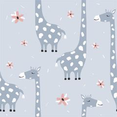 Żyrafy, kwiaty, ręcznie rysowane tło. Kolorowy wzór ze zwierzętami. Ozdobne słodkie tapety, dobre do drukowania. Nakładające się tło wektor. Ilustracja projektu - 309906495