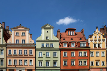 Wall Murals Several old historic houses in Wroclaw in Poland and their colorful facades.