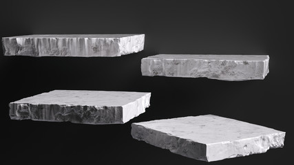 Rough stone slabs isolated on black, marble counter concrete shelves, grunge texture blocks object placement, 3d rendering, Fotobehang