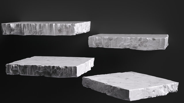 Rough stone slabs isolated on black, marble counter concrete shelves, grunge texture blocks object placement, 3d rendering,