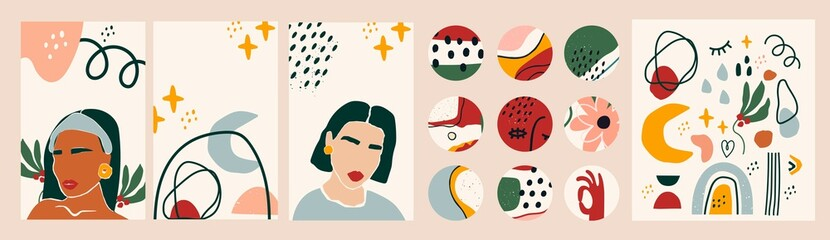 Wall Mural - Female portraits. Paper cut mosaic style. Modern illustrations. Social media backgrounds. SmartPhone wallpapers, round icons. Abstract shapes and objects. Highlight covers. Hand drawn big vector set