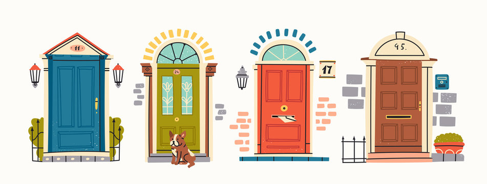 Set of four retro vintage Front Doors. Brick wall. Lamp on a wall. Windows. Sitting bulldog. House Exterior. Home Entrance. Hand drawn colored vector illustration. Isolated on a white background