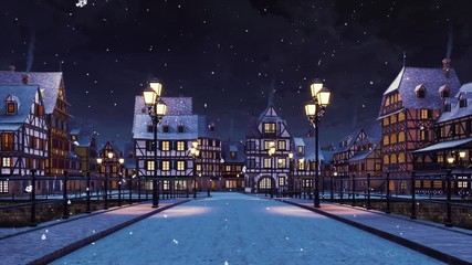 Wall Mural - Empty streets of cozy european town on the river with traditional half-timbered houses and bridge lit by street lanterns at winter night during snowfall. With no people 3D animation rendered in 4K