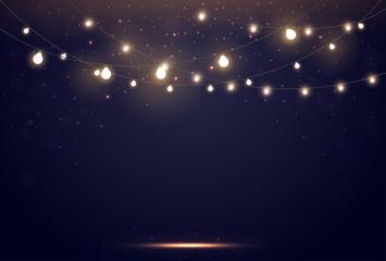 Magic Lights on night dark blue sky with sparkling stars Fotomurales