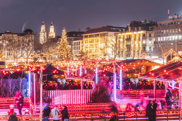 Festive Christmas markets in Zurich at night