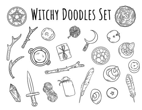 Witchy doodles set. Collection of wiccan witchcraft magical items for occult rituals. Hand drawn pagan elements collection. Occult altar symbols, cauldron, pentacle, athame, boline, candles