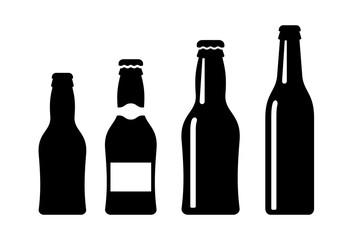 Beer bottle vector icon set