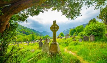Old irish celtic cemetery in Glendalough
