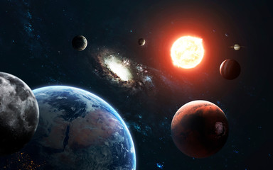 Wall Mural - Solar system and Sun. Elements of this image furnished by NASA