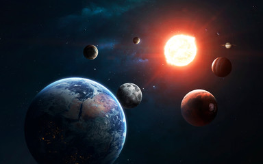 Solar system and Sun. Elements of this image furnished by NASA