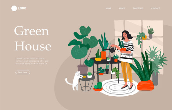 Landing page template with Girl caring for house plants in urban home garden with cat. Daily life and everyday routine scene by young woman in scandinavian style cozy interior. Cartoon vector