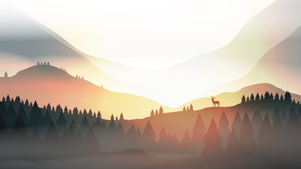 Sunset or Dawn Over Mountains with Stag on Hill Top Pine Forest Landscape - Vector Illustration