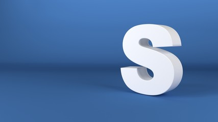 The Letter S in white on a blue background 3d render