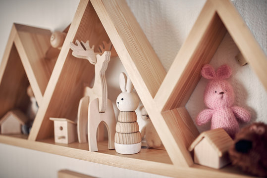 wooden toys in a children's room
