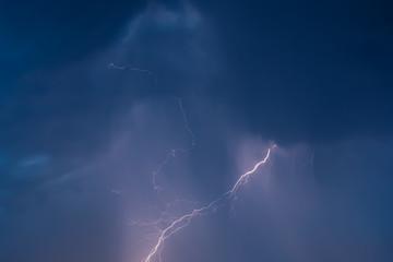 lightning in the night sky overcast flashes of bright light
