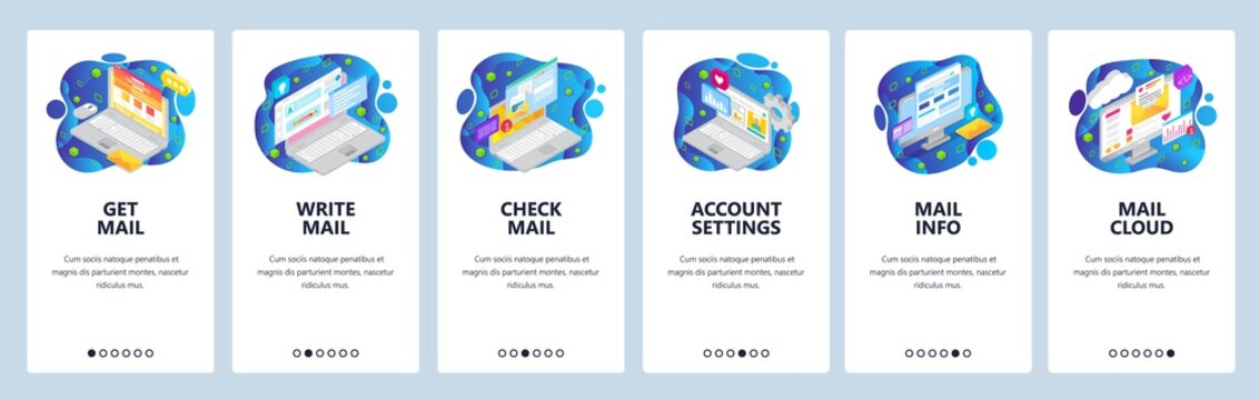 Mobile app onboarding screens. Business emails, write and send message, cloud service. Menu vector banner template for website and mobile development. Web site design flat illustration