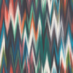 Blurred colorful ikat chevron tribal ethnic motif. Eps 10 graphic wavy zig zag seamless repeat vector pattern swatch.