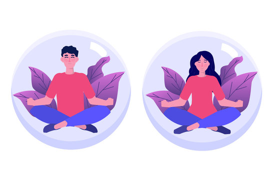 Personal space, introvert concept. Meditation, calm flat charact