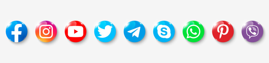 Collection of popular social media logo. Social media glass icons: facebook, instagram, twitter, viber, whatsapp, skype, youtube, telegram, pinterest