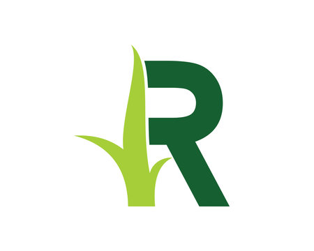 Letter R with Grass Logo Vector 001